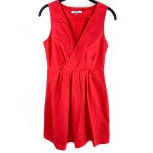BB Dakota Pleated Fit&Flare Red V Neck Dress